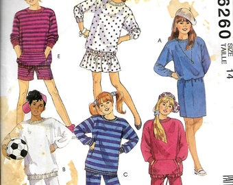 "McCall's 6260       Girls and ""Chubbies"" Dress, Top, Skirt, Pants, Shorts     Sizes 14      Uncut"