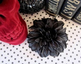 Black Dahlia Hair Clip, Black Hair Flower, Gothic Flower
