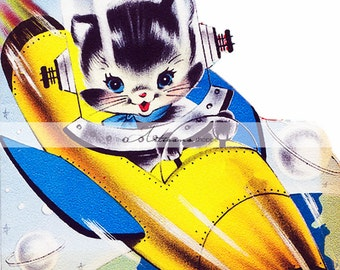 Digital Download Printable - Rocket Kitty Vintage Retro Space Cat Cute Kitsch Image - Paper Craft Scrapbook Altered Art - Rocket Ship Kitten