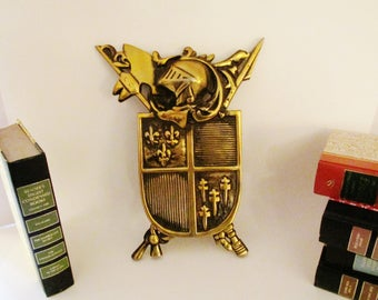 Vintage Coat of Arms, Metal Shield, Preppy Wall Decor. Wall Hanging, Mad Men Decor