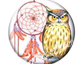 1 cabochon 30 mm glass dream catcher Native American OWL dreamcatcher