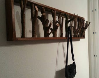 Hooks made of wood and branches