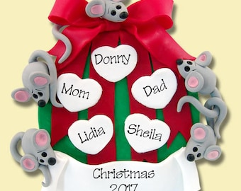MICE on Ornament Family of 5 HANDMADE Polymer Clay Personalized Christmas Family Ornament
