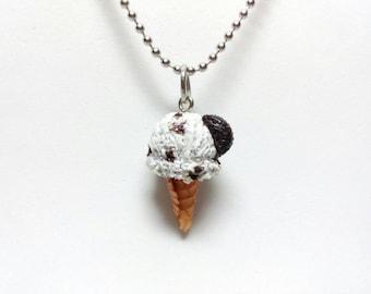 Cookies and Cream Ice Cream Cone Charm, Ice cream Necklace, Ice cream Earrings, Ice Cream Charm, Ice cream Jewelry, Miniature Food Jewelry