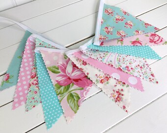 Shabby Chic Bunting Banner Baby Girl Nursery Decor Baby Shower Photo Props Party Decorations Photography Props Pink Aqua Blue Roses Flowers
