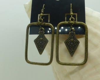 Bronze Shield Earrings