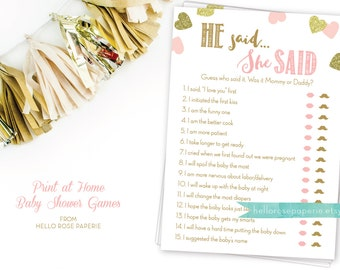 Pink and Gold Baby Shower Game . He Said She Said . Mommy or Daddy Guess Game . Printable Instant Download . Pink Gold Baby Shower Games