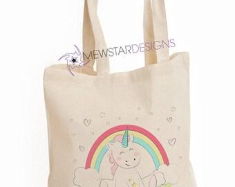 Cute Unicorn Bag, Canvas Bag, Unicorn Lover Gifts, Custom Tote, Shopper Bag, Shoulder Bag, Cute, Unicorns, Gifts For Her, Printed Tote