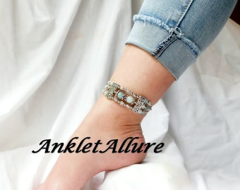 CUFF Anklet AMAZONITE Ankle Bracelet STONE Anklets for Women Multi Layer