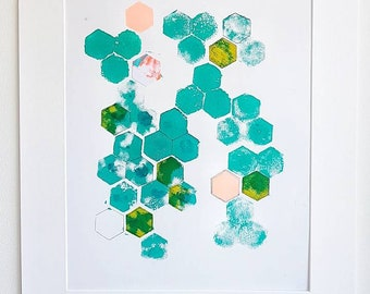 Tesellated hexagon block print, turquoise green, collage, hand printed, patterned original art, mixed media wall art, ideal for home decor