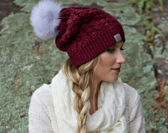 Canada Bliss Dreams Fur Pom Pom Hat, Crochet Knit Baby Alpaca Beanie - Choose from Multiple Colours