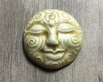 Large Spiral Face Ceramic Cabochon Stone in Peachy Tan