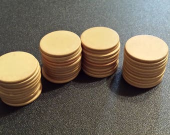 41 Vintage clay composition poker chips, plain.