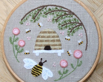 Beehive Crewel Embroidery Pattern and Kit