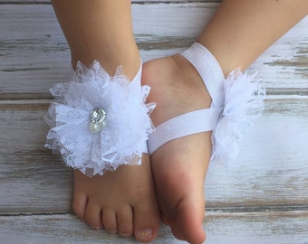 White Lace Baby Barefoot Sandals with Rhinestone and Pearls - Sandals - Baby Shoes - Photography Prop - Baptism Barefoot - Preemie Newborn