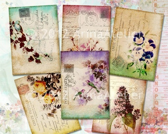 Shabby Chic Cards - digital collage sheet - set of 6 sheets