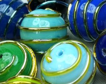 9 pcs, murano glass beads, multicolor, lampwork, handmade. 2