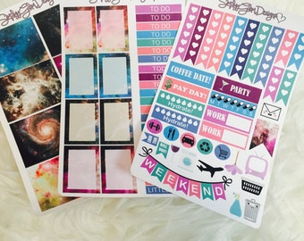 Galaxy Theme Weekly Planner Sticker Kit | Erin Condren & Plum Paper Planner