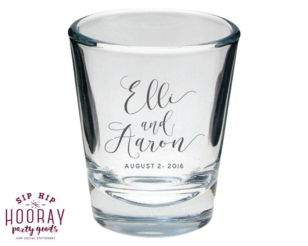 Wedding Shot Glasses Wedding Favors Monogrammed Shot Glass