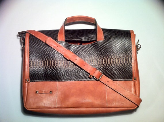 "17"" Business Snake leather Briefcase, Distressed Vachetta Tan Leather Bag,Handmade Woman Briefcase,Laptop Bag,Laptop hand bag"