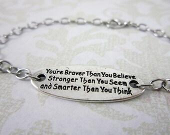 Brave Bracelet, inspirational bracelet, jewelry with meaning, brave bracelet, meaningful bracelets, strength bracelet, quote bracelet, gifts