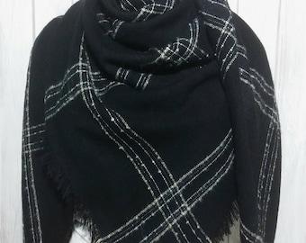 Blanket Scarf, Black, Taupe, White, Silver, for Women, Elegant Classy Scarves