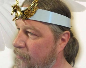 Pegasus Headpiece, Black Leather, Mens Headpiece, Sky Blue Leather, Choose Color, Burning Man Festival, Ren Fair