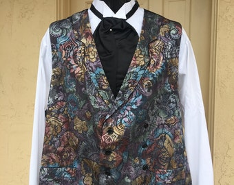 Victorian Style Colorful Brocade Double Breasted Men's Vest