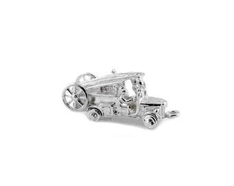 Sterling Silver Movable Fire Engine Charm For Bracelets