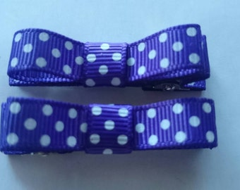 Toddler/Girl/Adult Non Slip Hair Clips - Mary Jane Hair Clip Set of 2 - Purple with White Spots