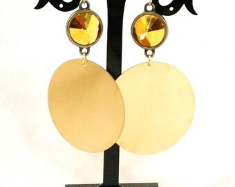 SWAROVSKI and brass HOOP EARRINGS, hook gold filed, gold