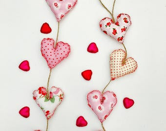 Handmade Vintage Fabric Hearts on a String