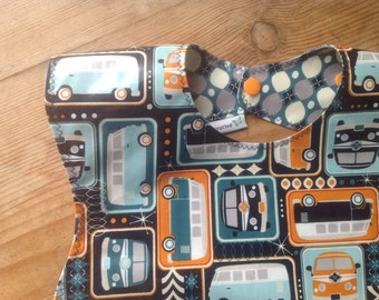 Snappy Pocket Bib in Waterproof Laminate, Self Feeder, NEW Groovin' Vans by Riley Blake in navy, VW van, BPA Free, wipeable and washable