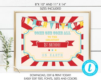 Printable Circus/Carnival Sign, 8 x 10 & 11 x 14, Birthday, School/Church Carnival, Edit in Your Browser, Instant Download, TEMPLETT