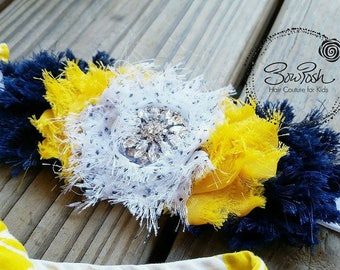 Porsche- Shabby chic headband, blue yellow headband, shabby flower headband, flower headband, blue and gold, navy blue bow, yellow headband
