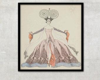 Vintage Art Deco fashion illustration by Georges Barbier, IL047.