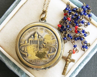 Antique Italian Rosary Holder Case & 5 Decade Miniature Rosary. St Peters Basilica Rome. Religious Christian Pilgrimage Souvenir Locket