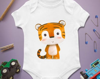 Tiger baby onesie, Tiger baby onesie, Tiger baby shower, Tiger first birthday, Tiger 1st birthday, Gift for baby, Baby present, Baby gift