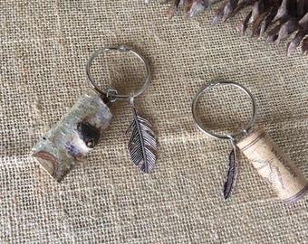 Key chains/ birch key chain/ wine cork key chain/ unique key chains/ gift for him/ gift for her/ wine cork feather key chain/ birch feather