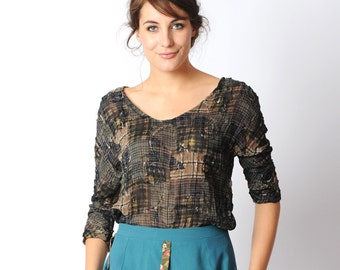 Brown voile top, Grey and brown loose top, Sheer brown plaid patterned womens top, Your size, MALAM