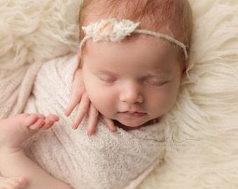 NEWBORN HEADBAND {Mia} Newborn Photo Prop - Newborn Tieback - Newborn Headbands - Photography Props - Newborn Flower Crown - Photo Props