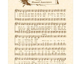 BLESSED ASSURANCE Hymn Wall Art Christian Home & Office Decor Vintage Verses Sheet Music Songs About Jesus By Fanny Crosby Inspirational Art