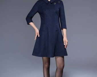 navy wool dress, mini dress, collar dress, fitted dress, womens dresses, romantic dress, cute dress, A line dress, patchwork dress  1815