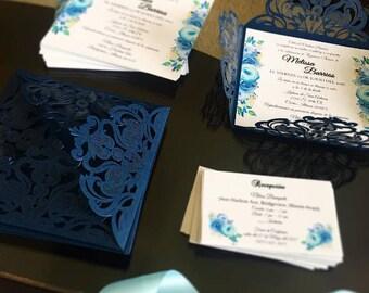 Floral Laser Cut Square Invitation