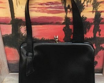 Black Leather Kelly Style Handbag Single Handle 1960s Vintage Accessory