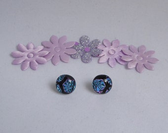 Dichroic glass earrings blue pink honeycomb fused studs birthday anniversary Christmas Mothers Day gift for her wife girlfriend Mum sister