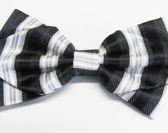 Silver And Black Stripe Herring Bone Diamond Pre Tied Bow Tie