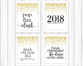 New Years Printable | Happy New Year | New Year Print | New Years Party | 2018 Printable | New Years Eve Party | New Year's Printable | NYE