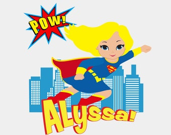 Girl Super Hero - Supergirl Flying Over Buildings - Bodysuit or T-Shirt