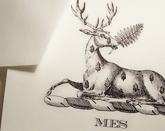 Personalized Deer, Stag, Elk , Monogrammed Note Cards Stationery for Men or Women with Envelopes Set 10 Ivory Deer Acorn for Him or Her